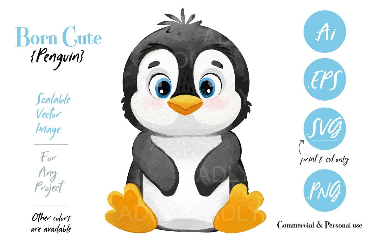 Digital Penguin Print ClipArt Design