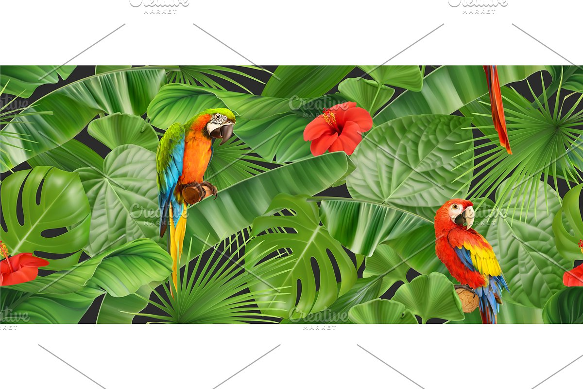 Tropical leaves, parrot, background