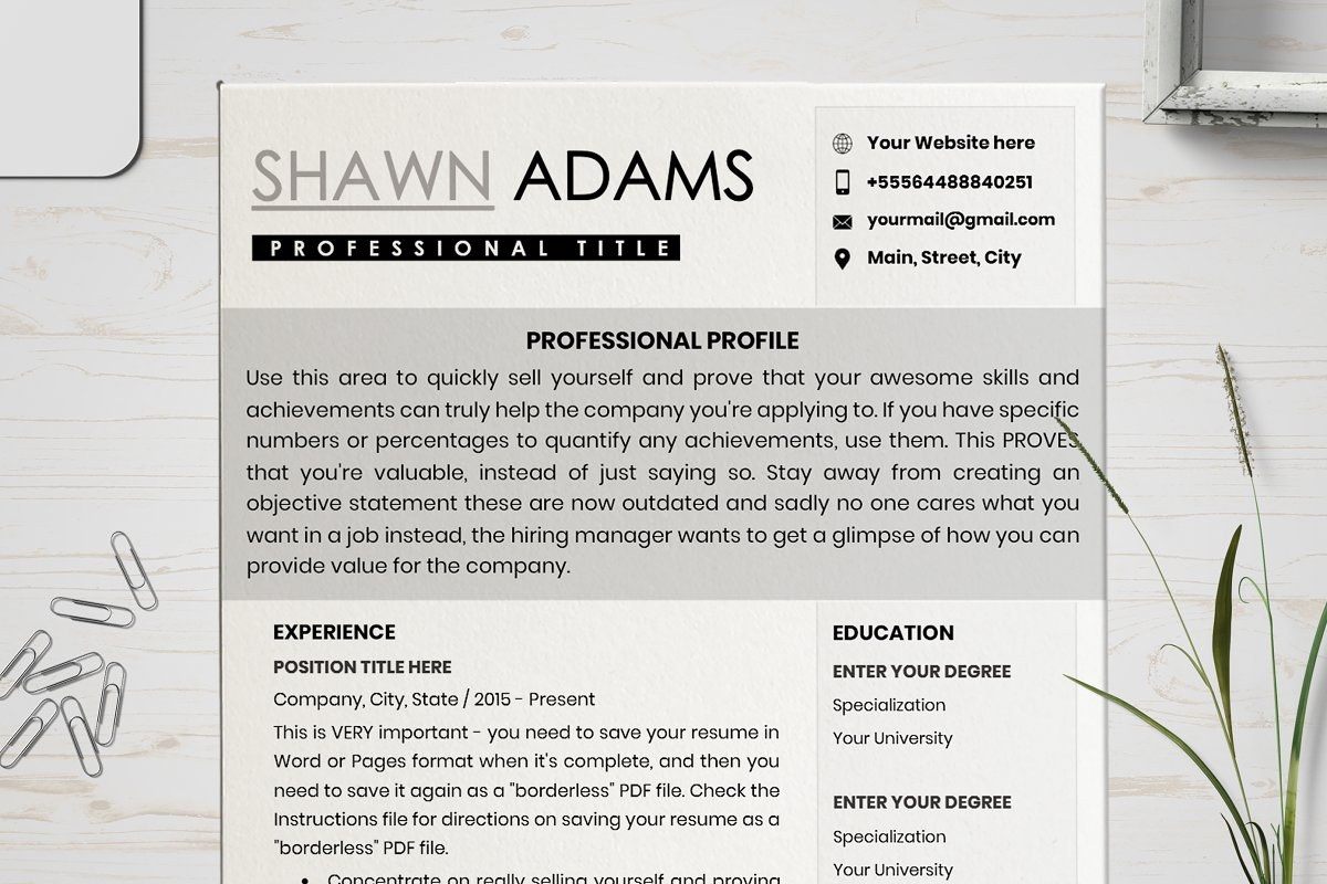 Resume Cv Template Layout