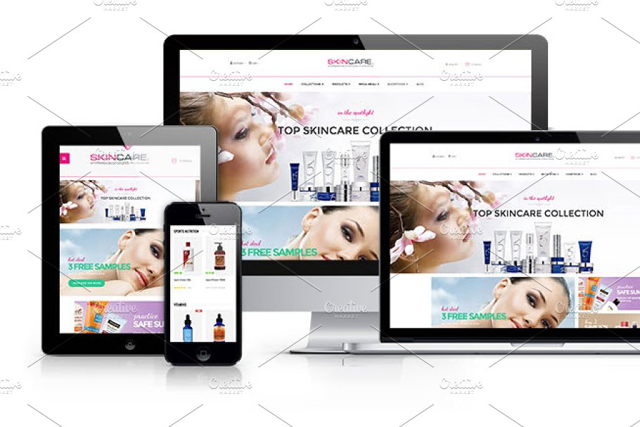 25c3373b41bc7 Ap Skin Care Shopify Theme ~ Website Templates ~ Creative Market