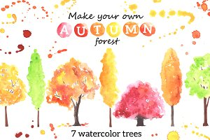 Autumn trees. Watercolor.