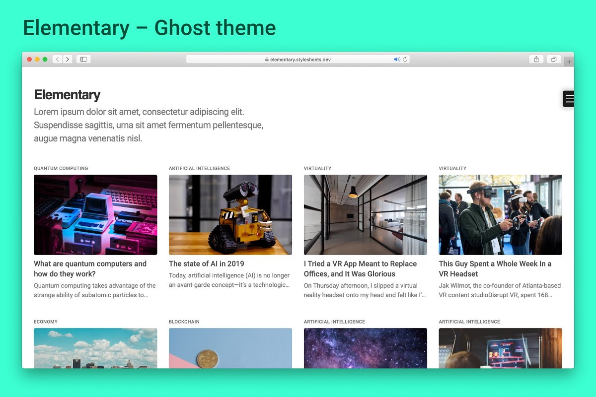 Elementary - Ghost Blogging Theme