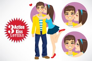 3 Action Couple Young Lovers Kiss