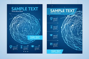 Abstract Blue Sphere Brochure