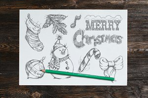 Merry Christmas hand drawn set