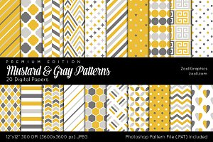 Mustard And Gray Digital Papers