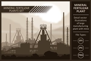 Mineral fertilizer plant. Vector set
