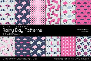 Pink Rainy Day Digital Papers