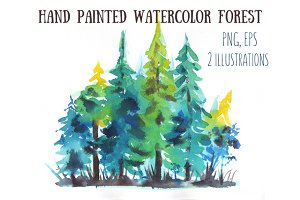 Hand painted watercolor forest