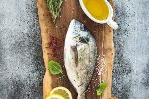 Fresh uncooked sea bream fish