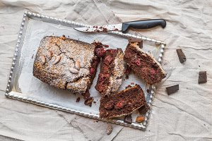 Cherry brownie with almond