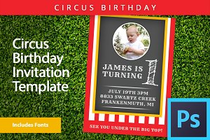 Circus Theme Invitation PSD Template