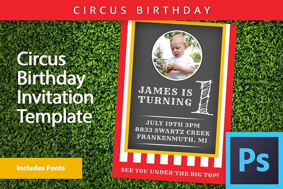 circus theme invitation psd template invitation templates