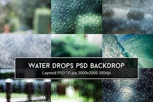 Water Drops PSD Backdrop