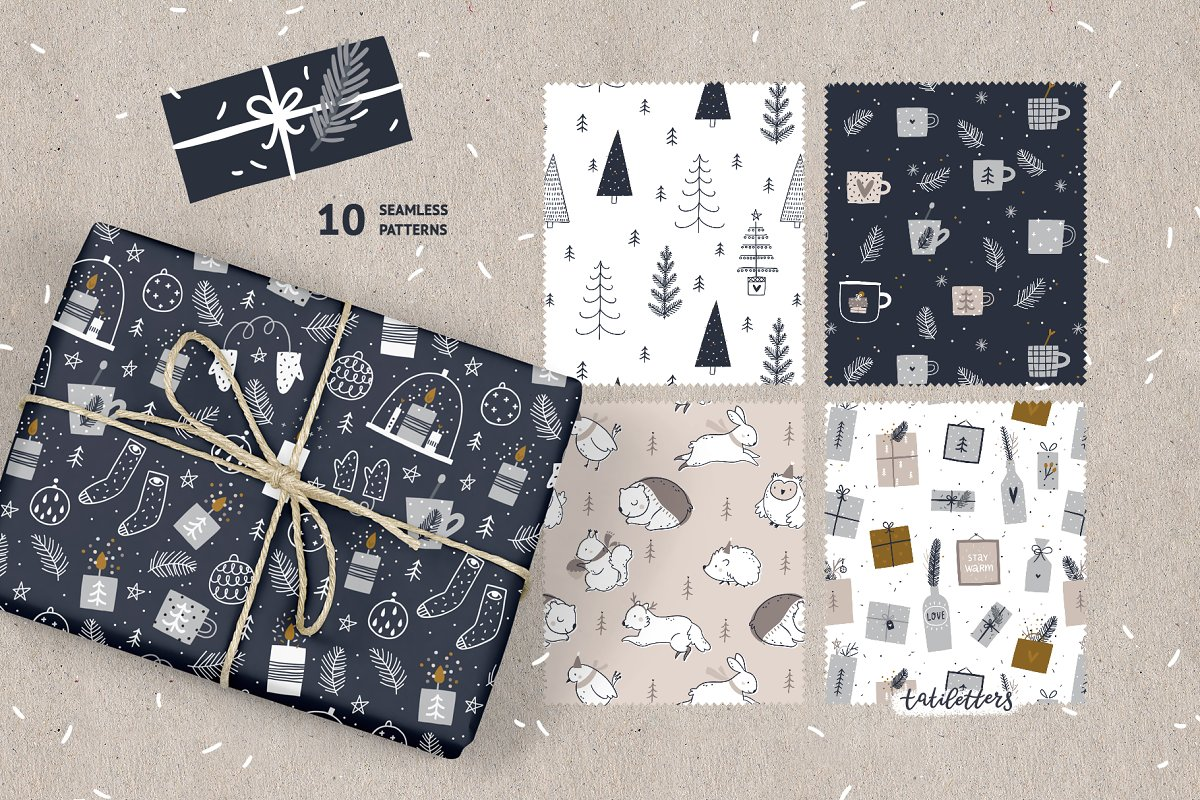Hygge - Christmas Cards & Patterns in Illustrations - product preview 5