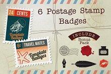 6 Postage Stamp Badges + Bonus