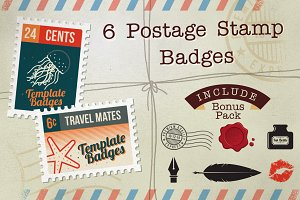 6 Postage Stamp Badges + Bonus