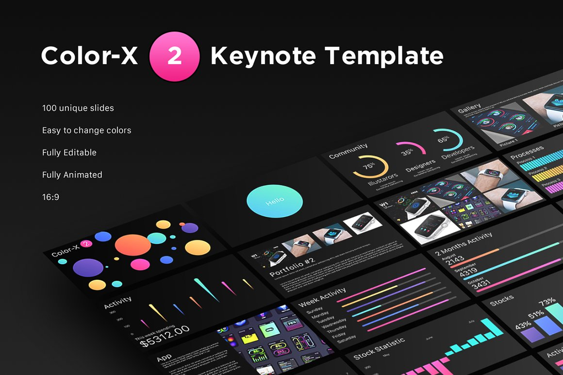 Color-X 2 Keynote Template ~ Presentation Templates ~ Creative Market