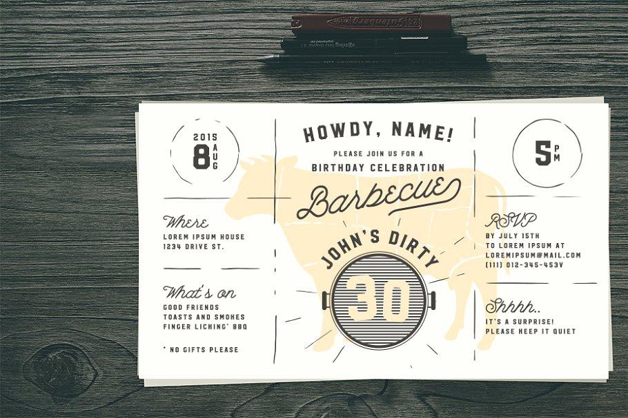 Dirty 30 Birthday BBQ Invitation Templates Creative