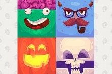 Cartoon monster faces (vector)
