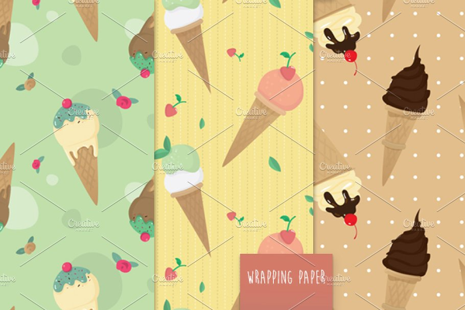 Ice Cream pattern vector set