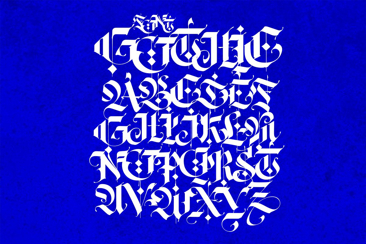 Gothic, English alphabet.