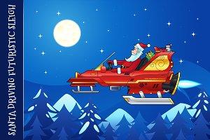 Santa Driving a Futuristic Sleigh
