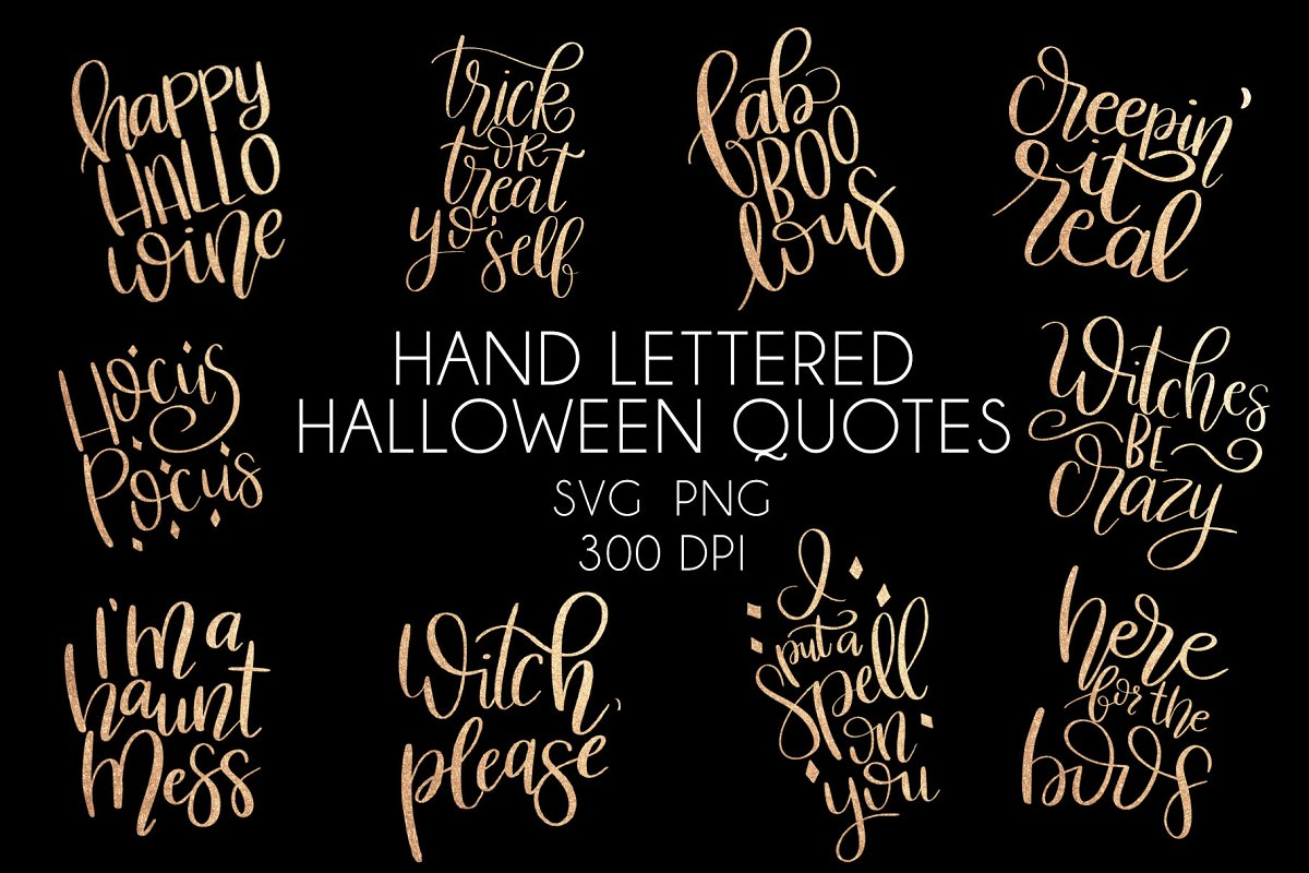 Hand Lettered Halloween Quotes Graphics Creative Market