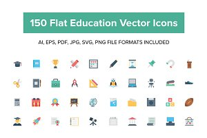 150 Flat Education Vector Icons