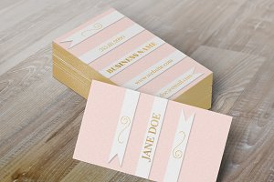 Dusty Rose Ribbon Business Card