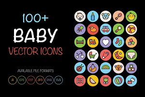 100+ Baby Colored Vector Icons
