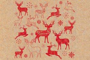 Vintage Christmas Reindeer Set