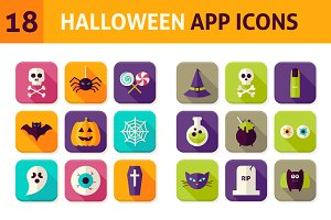 Halloween Vector Flat App Icons
