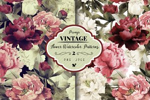 Seamless floral patterns with peonie