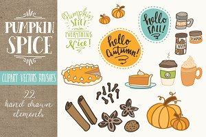 Pumpkin Spice Clip Art Set - Vectors