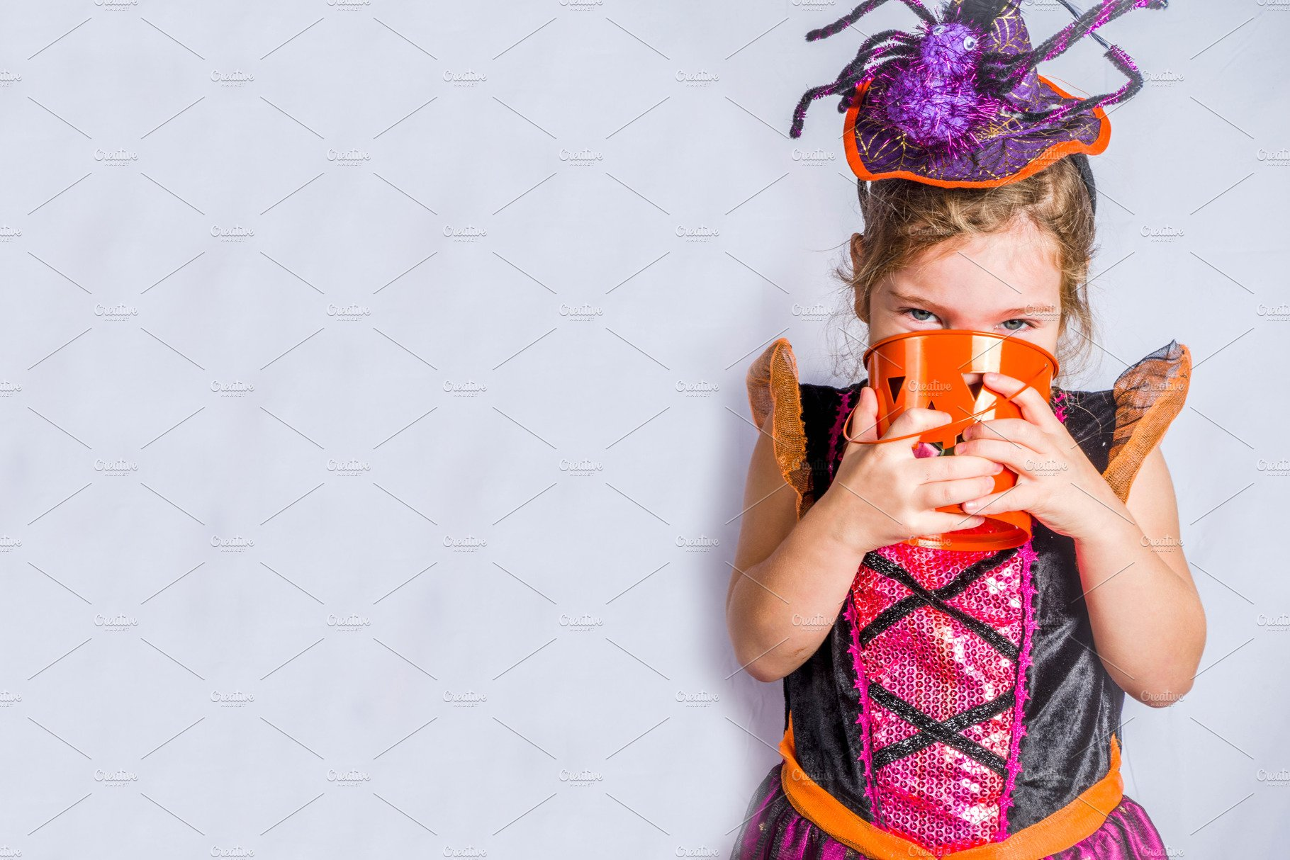 Little Cute Girl In Witch Costume Fo High Quality Holiday Stock Photos Creative Market