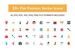 50+ Flat Fashion Vector Icons