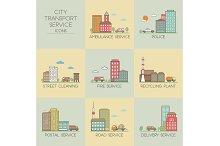 City transport service. Set  icons