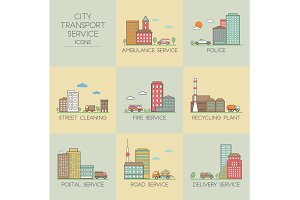 City transport service. Set  icons