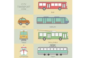 City transport. Set icons