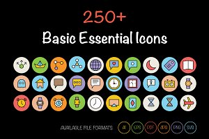 250+ Basic Essential Icons