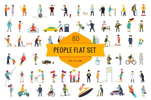 Flat people vector set in Illustrations