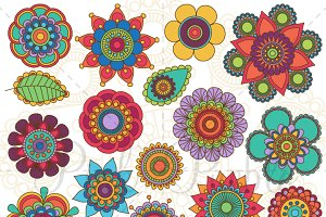 Doodle Flowers and Mandalas Clipart