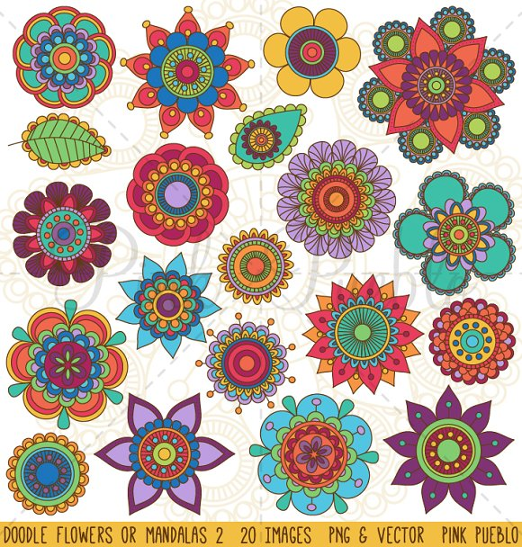 Doodle Flowers and Mandalas Clipart ~ Illustrations ...