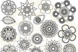 Doodle Flower Silhouettes Clipart