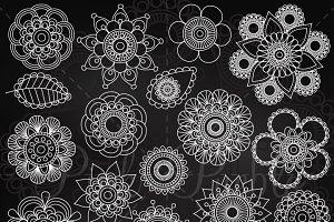 Chalkboard Doodle Flowers Clipart