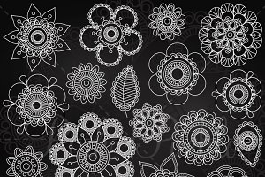 Chalkboard Doodle Mandalas Clipart