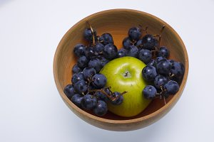 Fruit in a wooden bowl