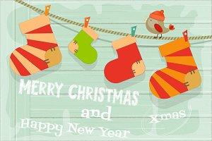 Card with Christmas Socks