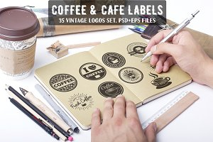 35 Coffee, Cafe & Cake Logo Bundle